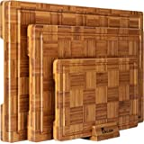 Extra Large Bamboo Cutting Boards, (Set of 3) Chopping Boards with Juice Groove Bamboo Wood Cutting Board Set Butcher Block f
