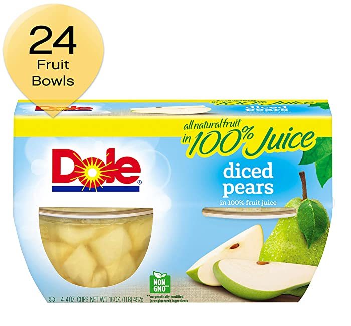 DOLE FRUIT BOWLSDiced Pears in 100% Juice, 4 Cups (Pack of 6)
