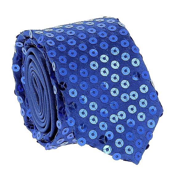 cravateSlim Corbata Estrecha Lentejuelas Azul Rey: Amazon.es: Ropa ...