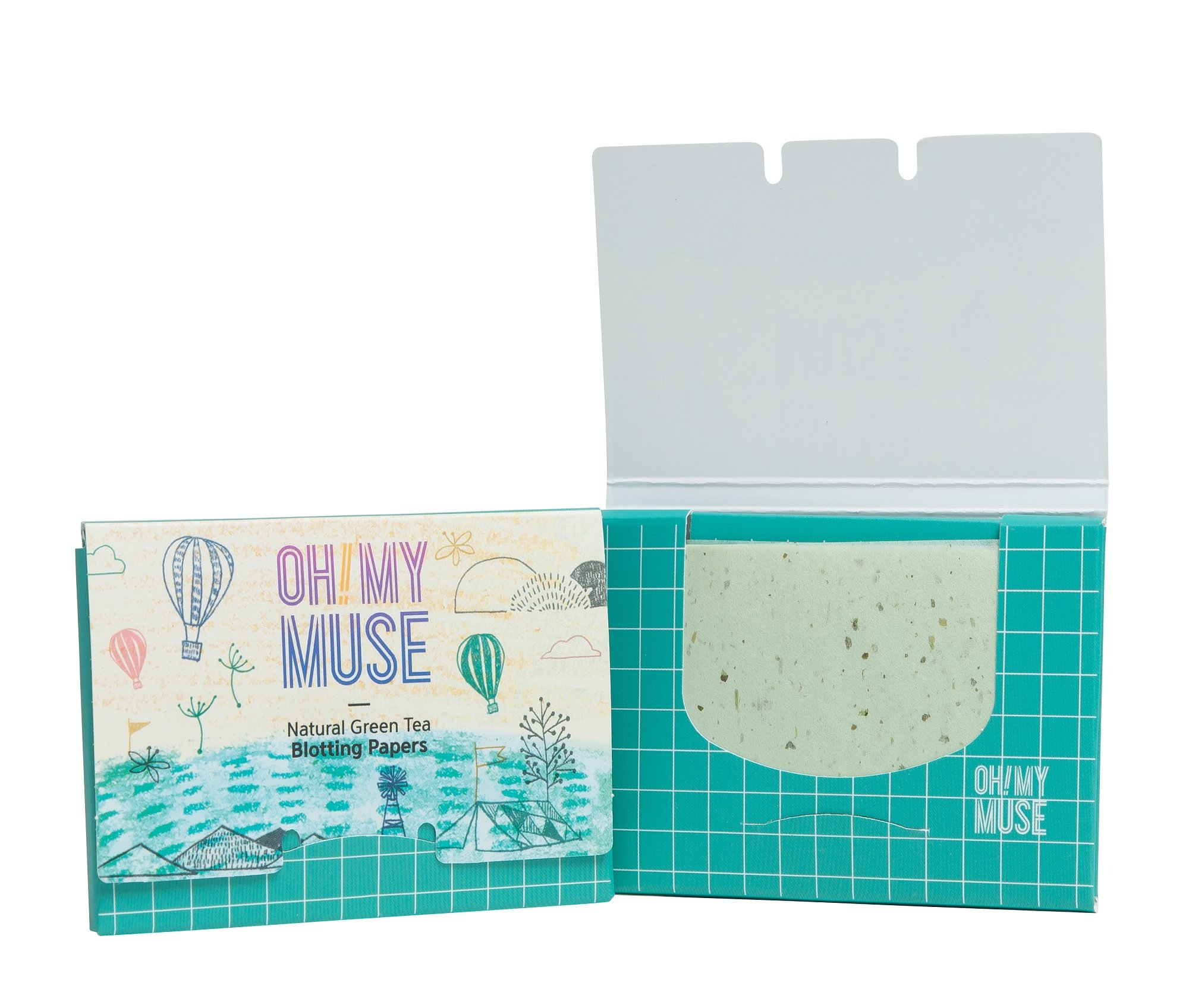 [Oh!My Muse] Natural Green Tea Oil Absorbing Sheets, Blotting Paper, 50 count (10 Packs) by Oh!My Muse (Image #2)
