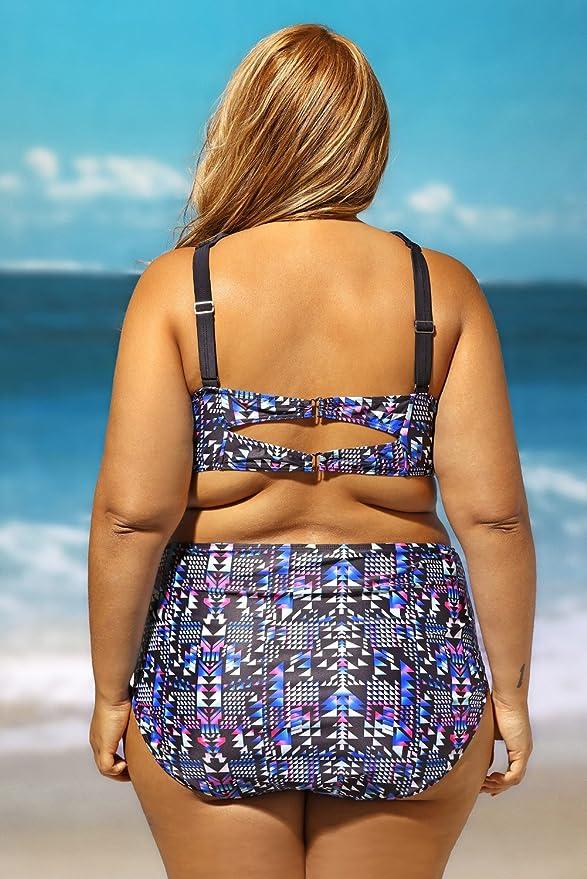 01daf2228e1 Lalagen Women's Plus Size Strappy High Waist Bikini Two Piece Swimsuit  Tankini at Amazon Women's Clothing store: