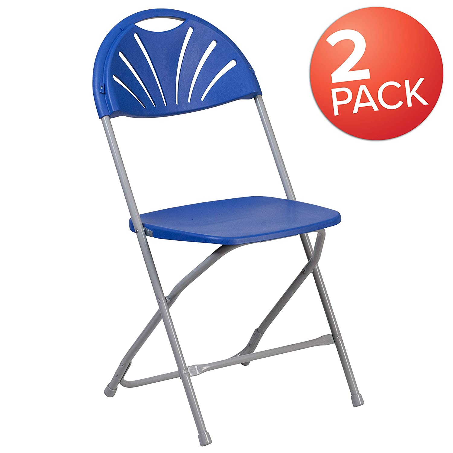 Flash Furniture 2 Pk. HERCULES Series 650 lb. Capacity Blue Plastic Fan Back Folding Chair