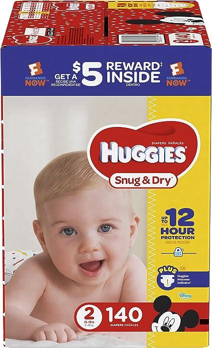 HUGGIES Snug /& Dry Diapers 140 Count GIGA JR PACK Size,Newborn Packaging ..