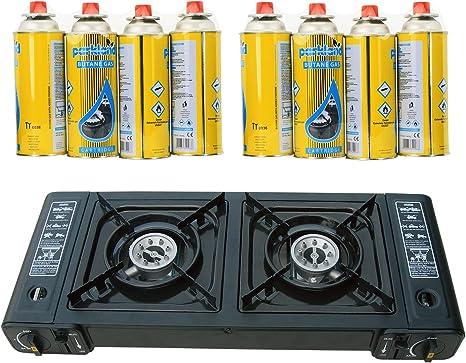 Topflame doble quemador doble Cocina de camping Cocina de gas Cocina de gas + 8 recargas