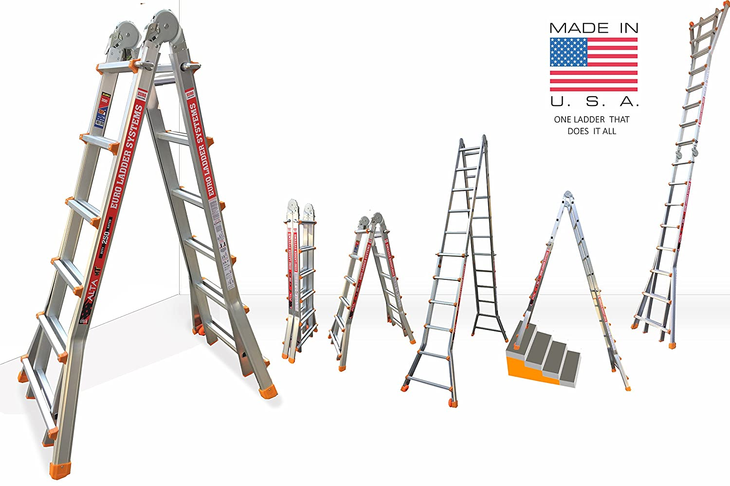 euro alta mt model 22 5ft to 20ft aluminium step ladder multi folding made in usa multi use 18 in 1 aframe wall support u0026 staircase ladder