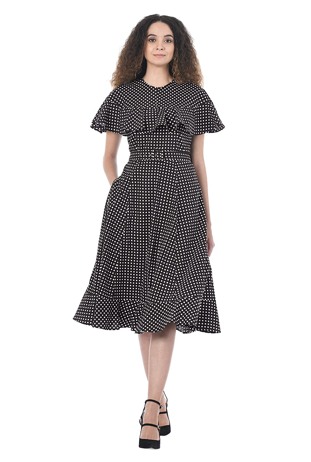 1930s Style Fashion Dresses eShakti Womens Ruffle Polka Dot Print Crepe Dress $69.95 AT vintagedancer.com