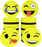 """Emoji Magnetic Whiteboard Erasers Set of 12 for Dry Erase Boards - Size: 2"""" x 2"""" - Great for Kids, School, Teachers, Students, Home, Classroom, Office"""