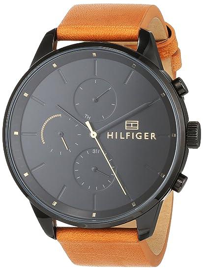 Tommy Hilfiger Reloj Multiesfera para Hombre de Cuarzo con Correa en Cuero 1791486: Amazon.es: Relojes