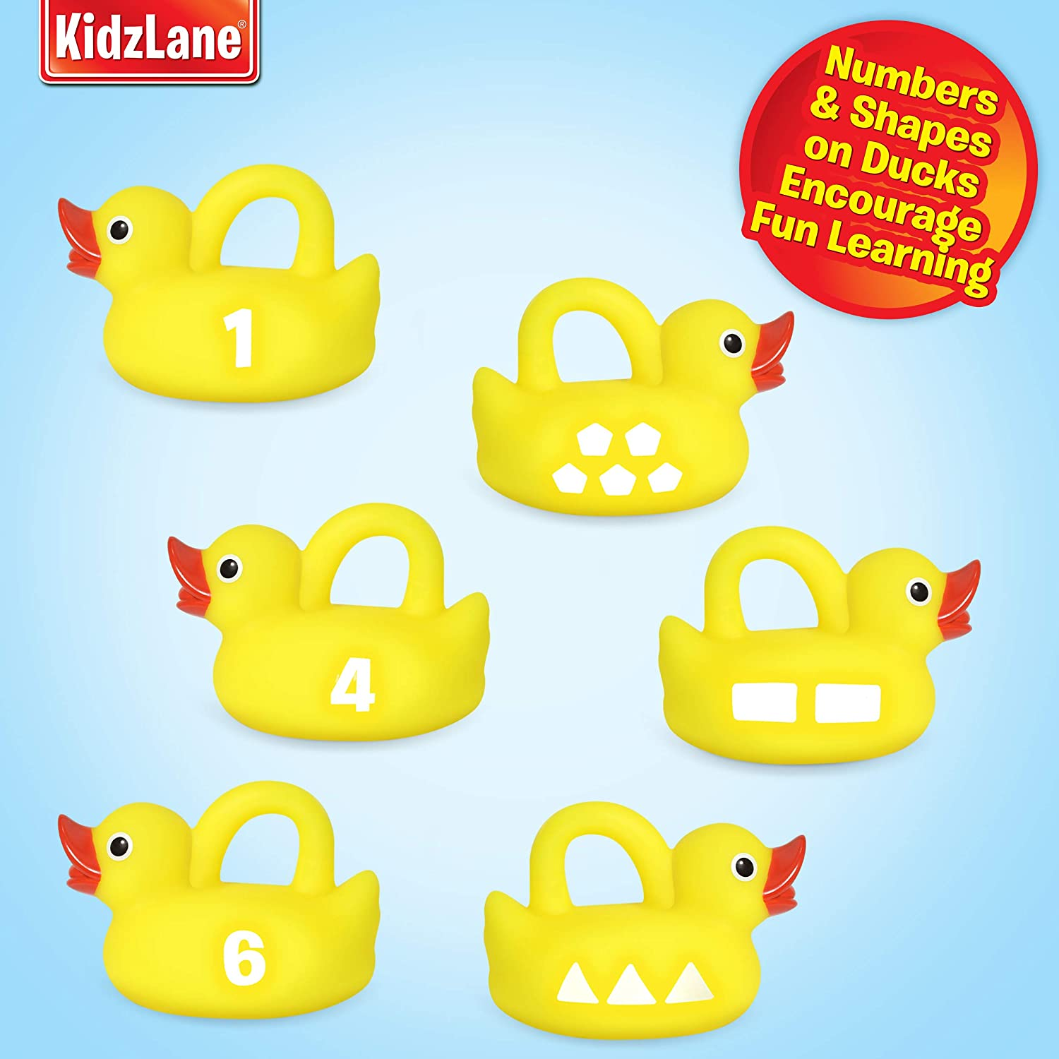 Great Learning Toy for Babies Teaches Numbers /& Shapes Toddlers /& Kids 1 Toy Fishing Pole and 6 Rubber Duckies Mold-Proof Design with no Holes Kidzlane Bath Toys Fishing Game