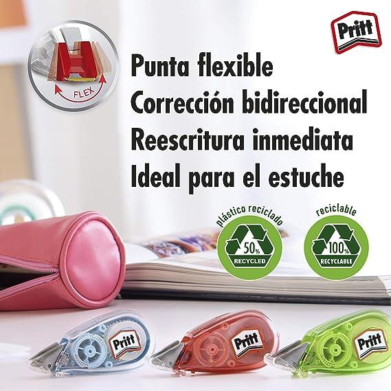 Pritt Micro Rolli, correctores de bolígrafo para tapar errores, cintas correctoras que no dejan manchas, corrector escolar en azul, verde y rosa, 15 x (5mm x 6m): Amazon.es: Oficina y papelería
