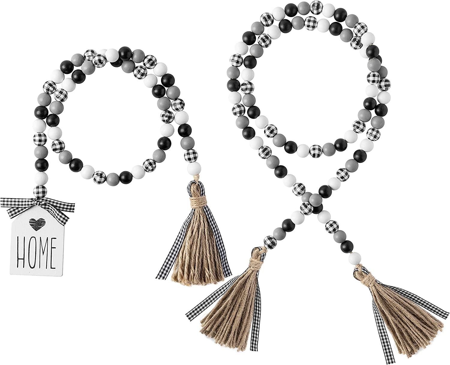 2Pcs Black&White Plaid Wood Bead Garland with Tassel Rustic Farmhouse Tiered Tray Decorations Country Rustic Wall Hanging Decor Natural Wood Bead Decoration for Summer Indoor Home Festival