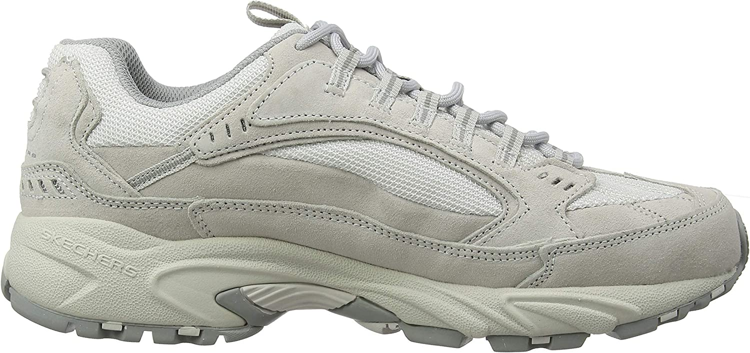 Skechers Stamina-Sterfo, Baskets Homme Gris Gray Suede Pu Mesh Trim Gry