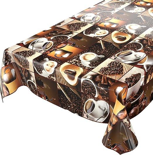 Hule para mesa, diseño con café y granos de café en cuadrados ...