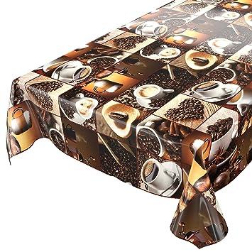 Wachstuch abwaschbare Tischdecke Wachstischdecke Gartentischdecke Kaffee Style