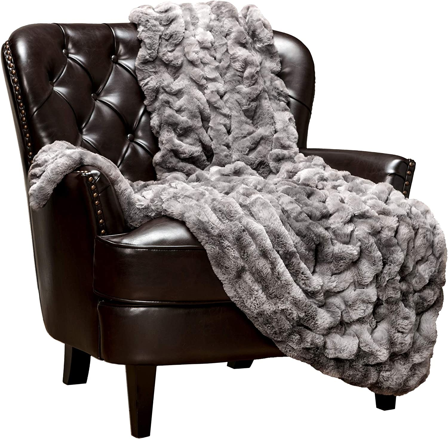 Chanasya Cozy Ruched Royal Luxurious Faux Fur Throw Blanket for Couch Chair Bed