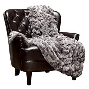 Chanasya Ruched Royal Luxurious Faux Fur Throw Blanket - Super Soft Fuzzy Warm Cozy Plush Fluffy Elegant Blanket for Sofa Chair Couch Bed with Reversible Silky Velvet Throw Blanket- 50x65- Dark Gray