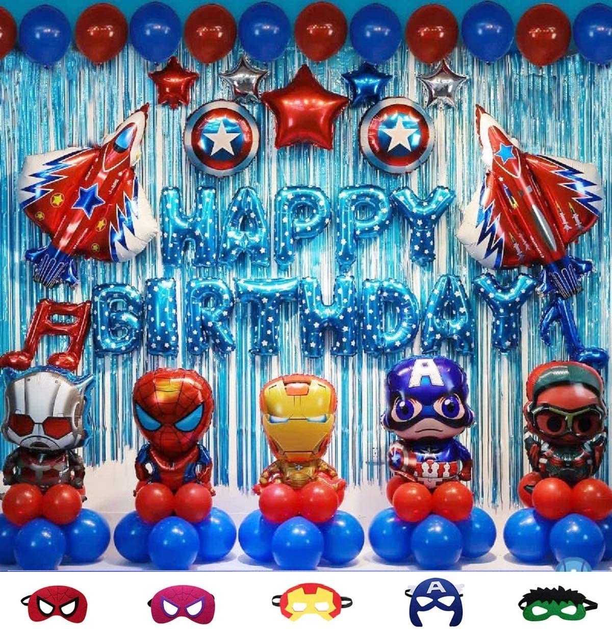 10pcs Superhero Party Decoration kit Superhero Balloons Avengers Balloons  including balloons foil backdrop and air pump