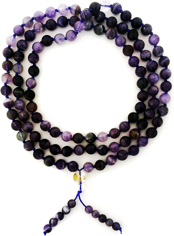 Amethyst 108 Bead Gemstone Mala with Om Handpainted on the Guru Bead