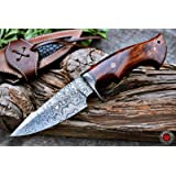 Bobcat Knives Custom Handmade Hunting Knife Bowie Knife Damascus Steel Survival Knife EDC 10'' Overall Walnut Wood with Sheat