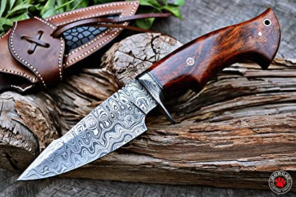 Custom Handmade Hunting Knife Bowie Knife Damascus Steel Survival Knife EDC 10 Overall Walnut Wood with Sheath