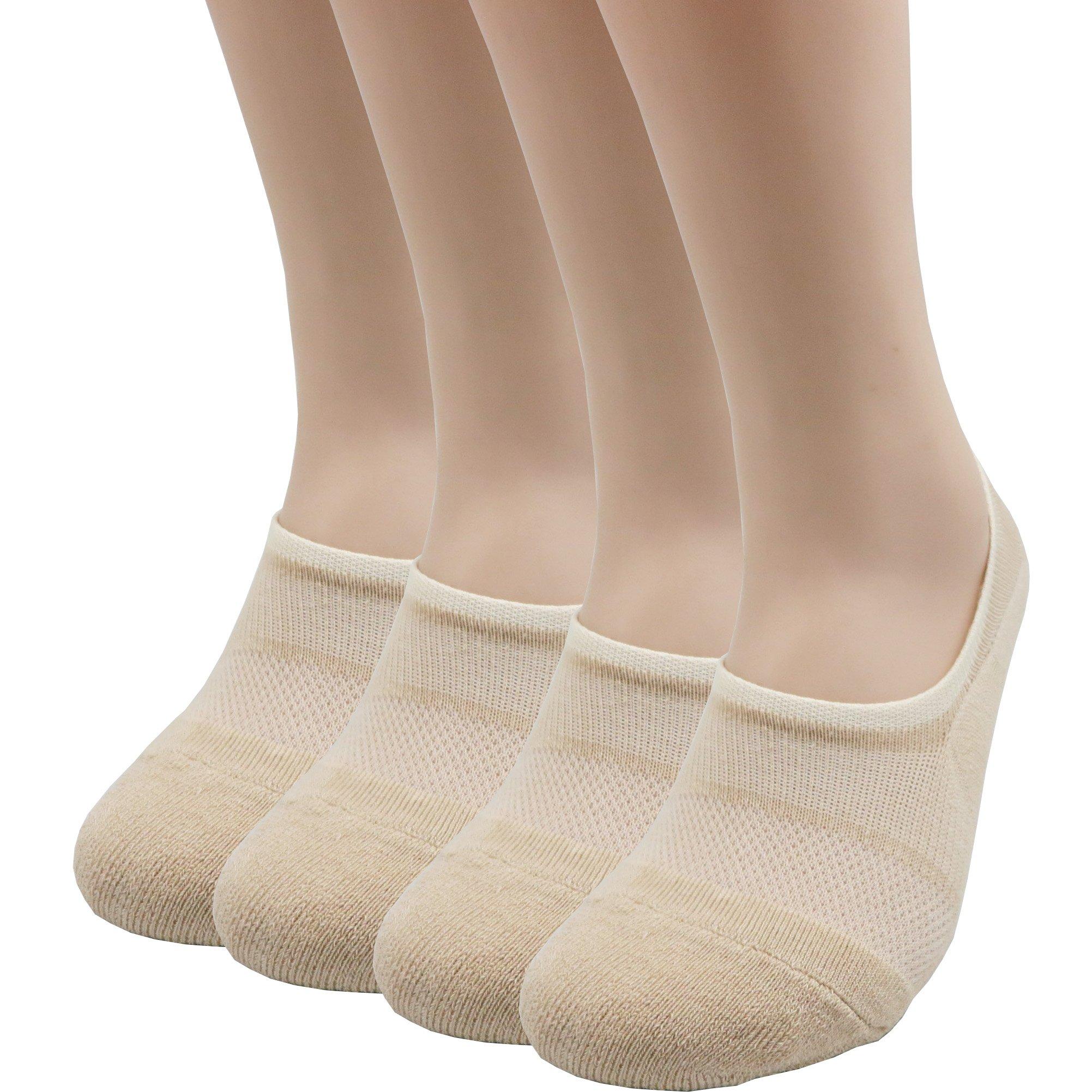 Pro Mountain Men's Women's No Show Flat Cushion Athletic Cotton Footies Sneakers Sports Socks (M(US Women Shoe 7.5~9.5 = Men 6.5~8.5, size10 Unisex), Beige 4pairs Pack M-size)