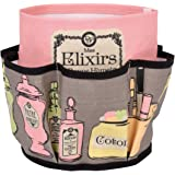 Derrière la porte Mes elixirs bonne humeur 0013-D060-P110800 - Organizador de cosméticos con bolsillos, algodón, 16 x 18,5 cm, color rosa y gris