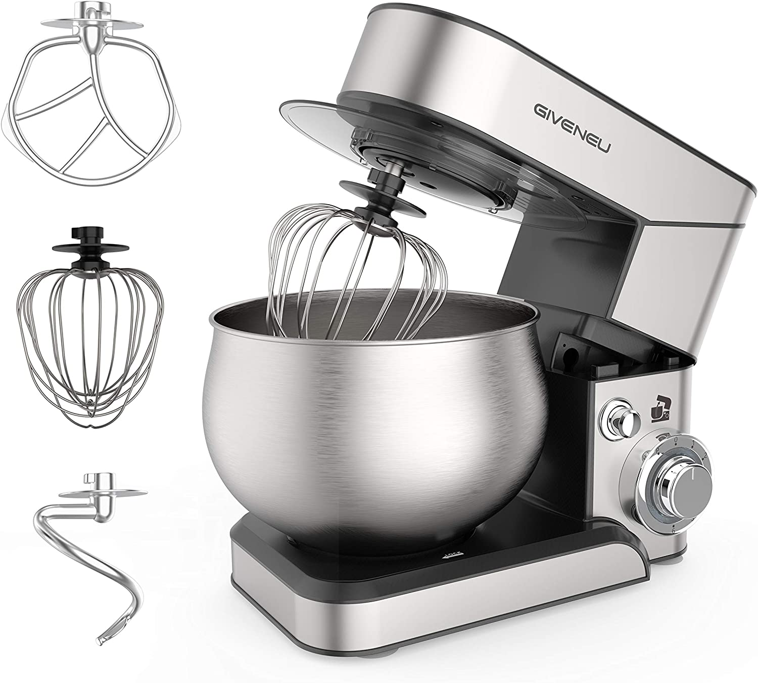 GIVENEU Stand Mixer, 1000W Food Mixer, 6 Speed Tilt-Head Electric Kitchen Dough Mixer with Dough Hook, Mixing Beater, Wire Whisk and Scraper, 5QT Bowl - Premium Stainless Steel Design