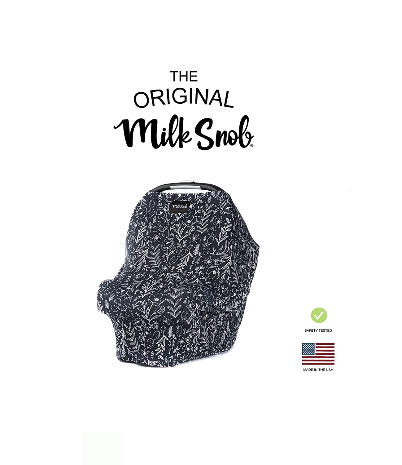 Milk Snob - AS SEEN ON SHARK TANK - Infant Car Seat Cover and Nursing Cover Multi-Use 360° Coverage Breathable Stretchy - Moonlight Garden