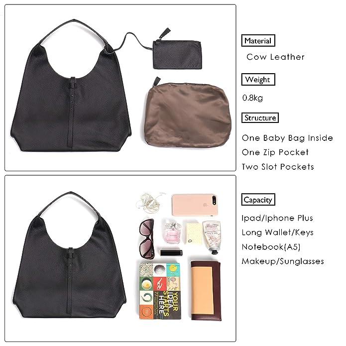 685980a7e1 Amazon.com  STEPHIECATH Women Genuine Leather Shoulder Bag Slouchy Hobo  Casual Soft Tote Ladies Vintage Bag (Black)  Shoes