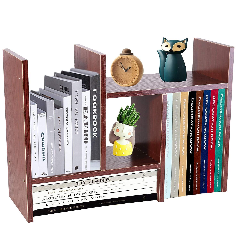 PENGKE Office Storage Rack,Desktop Organizer,Home Decor Adjustable Wood Display Shelf Rack,True Natural Stand Shelf,Office Supplies Desk Organizer,Brown