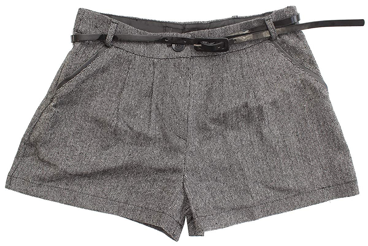Get Wivvit Girls Glitter Tweed Wool Style City Shorts with Patent Belt Sizes from 4 to 14 Years
