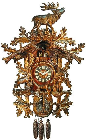 Original Schwarzwälder Kuckucksuhr/Schwarzwald-Uhr (zertifiziert),  8-Tage-Werk, mechanisch, Musik, Tänzer, 90 cm, 5 Jahre Garantie, Jagd,  Steinbock, ...