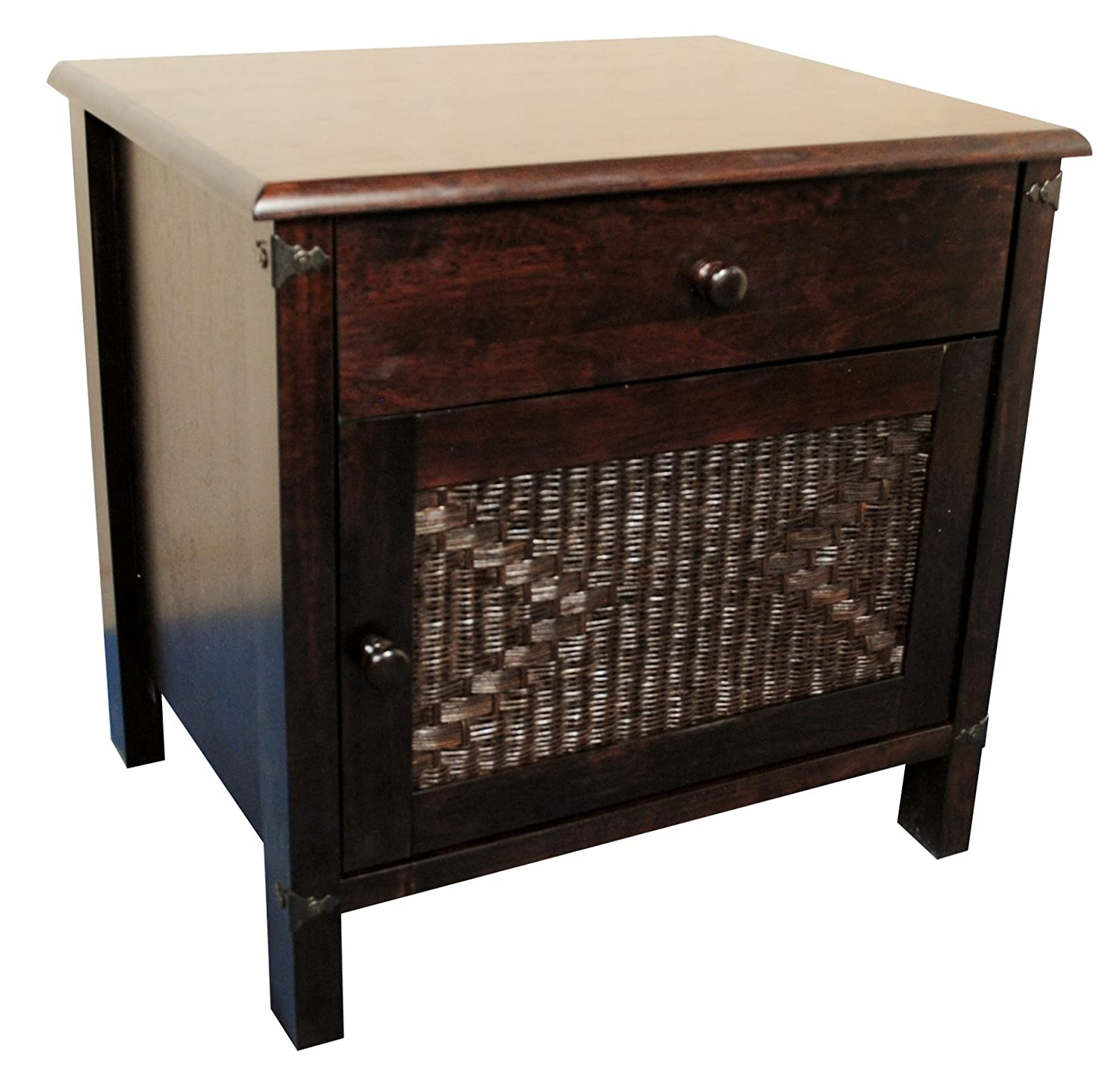 Ideal Morocco Solid Wood Bedside Cabinet   Dark Walnut U0026 Wicker:  Amazon.co.uk: Kitchen U0026 Home