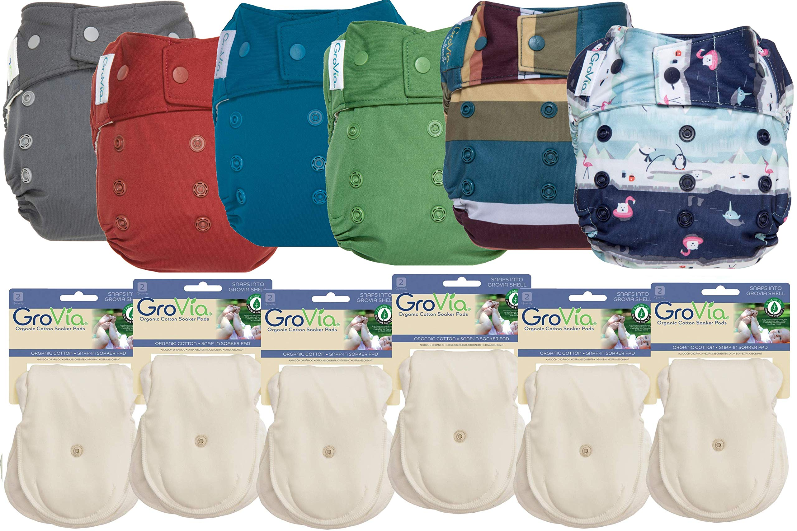 GroVia Hybrid Part Time Package: 6 Shells + 12 Organic Cotton Soaker Pads (Color Mix 1 - Snap)