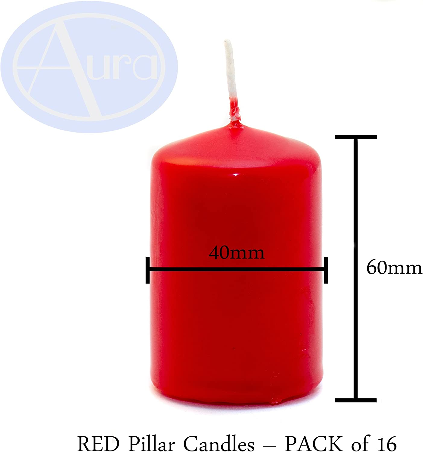 40/mm X 60/mm Aura Bougies Pilier Rouge