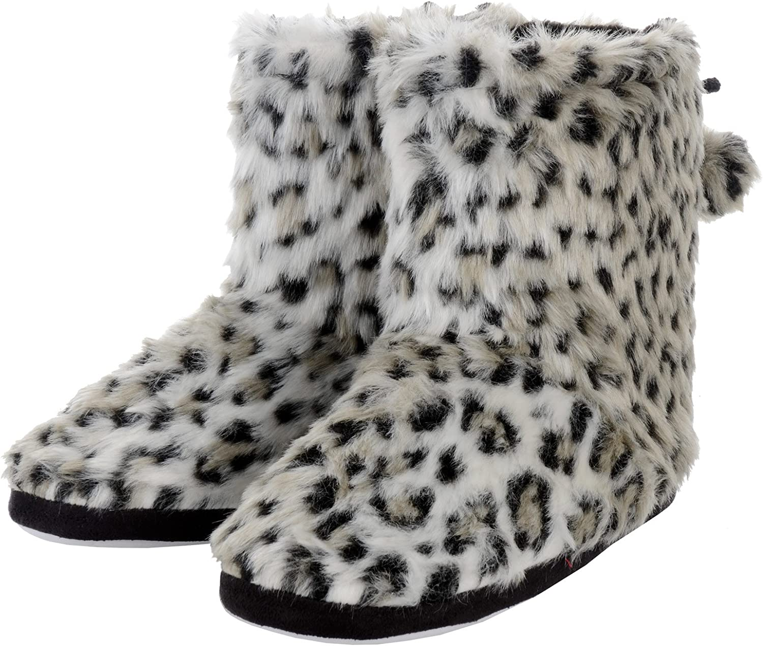 Ladies Plush Faux Fur Leopard Animal Print Lined Bootie Slippers with Pompoms