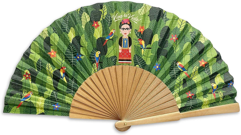 Designer Souvenirs - Abanico Plegable con Varillas de Madera Color Verde Regalar a Madres, Abuelas o Amigas | Original Diseño para Invitados de Boda o Fiestas | Frida Kahlo: Amazon.es: Juguetes y juegos