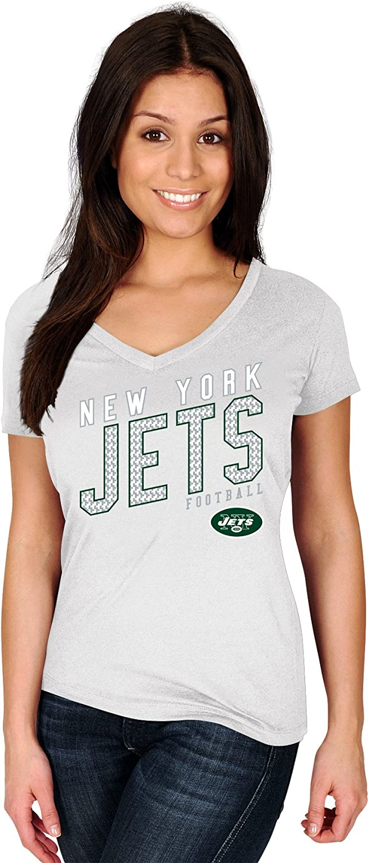 NFL New York Jets Adult Women NFL Plusjets S//Cotton V Neck Tee,4X,White