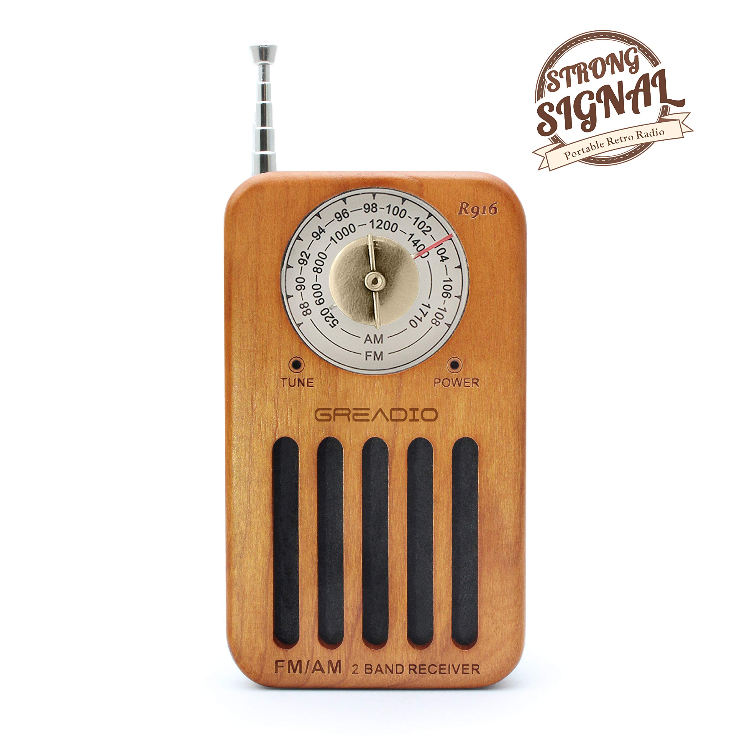 AM/FM Portable Radio, Retro Cherry Wood Pocket Radio with Best Reception, Headphone Jack, Battery Operated Personal Transistor by 2 AA Battery for Jogging, Walking and Travelling