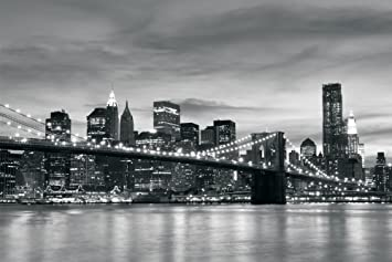 Brooklyn Bridge New York Black White Wallpaper Mural