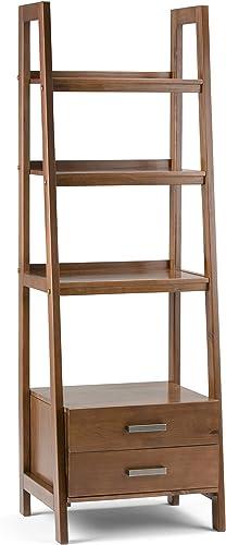 Simpli Home 3AXCSAW-06 Sawhorse Solid Wood 72 inch x 24 inch Modern Industrial Ladder Shelf with Storage in Medium Saddle Brown