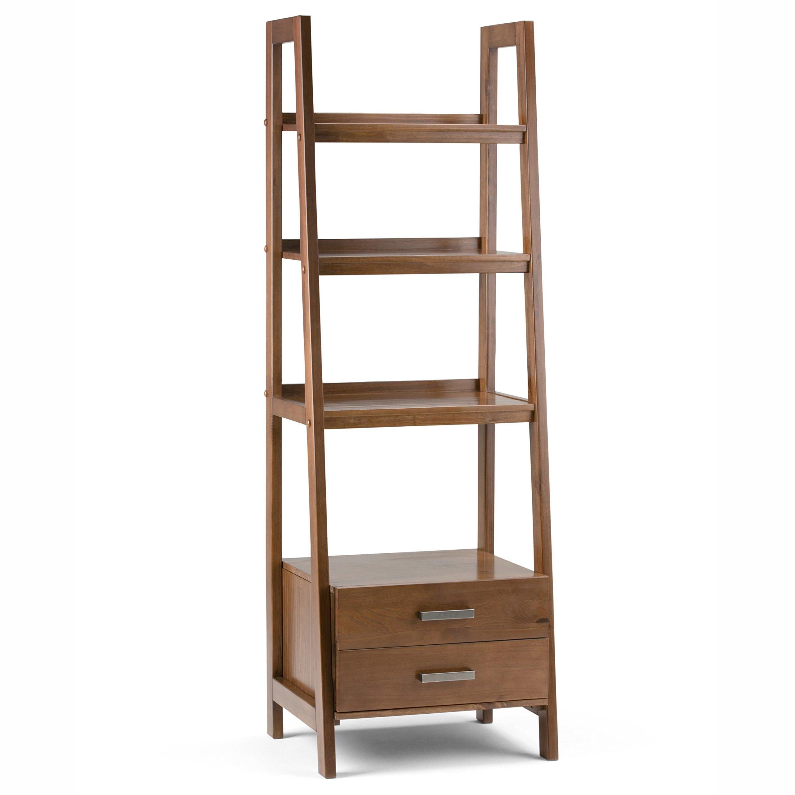Simpli Home 3AXCSAW-06 Sawhorse Solid Wood 72 inch x 24 inch Modern Industrial Ladder Shelf with Storage in Medium Saddle Brown by Simpli Home