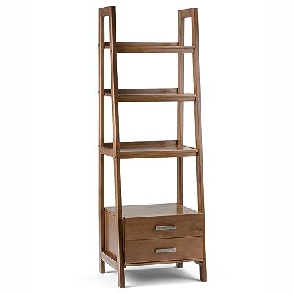 Simpli Home Sawhorse Solid Wood Ladder Shelf Bookcase With Storage, Medium  Saddle Brown