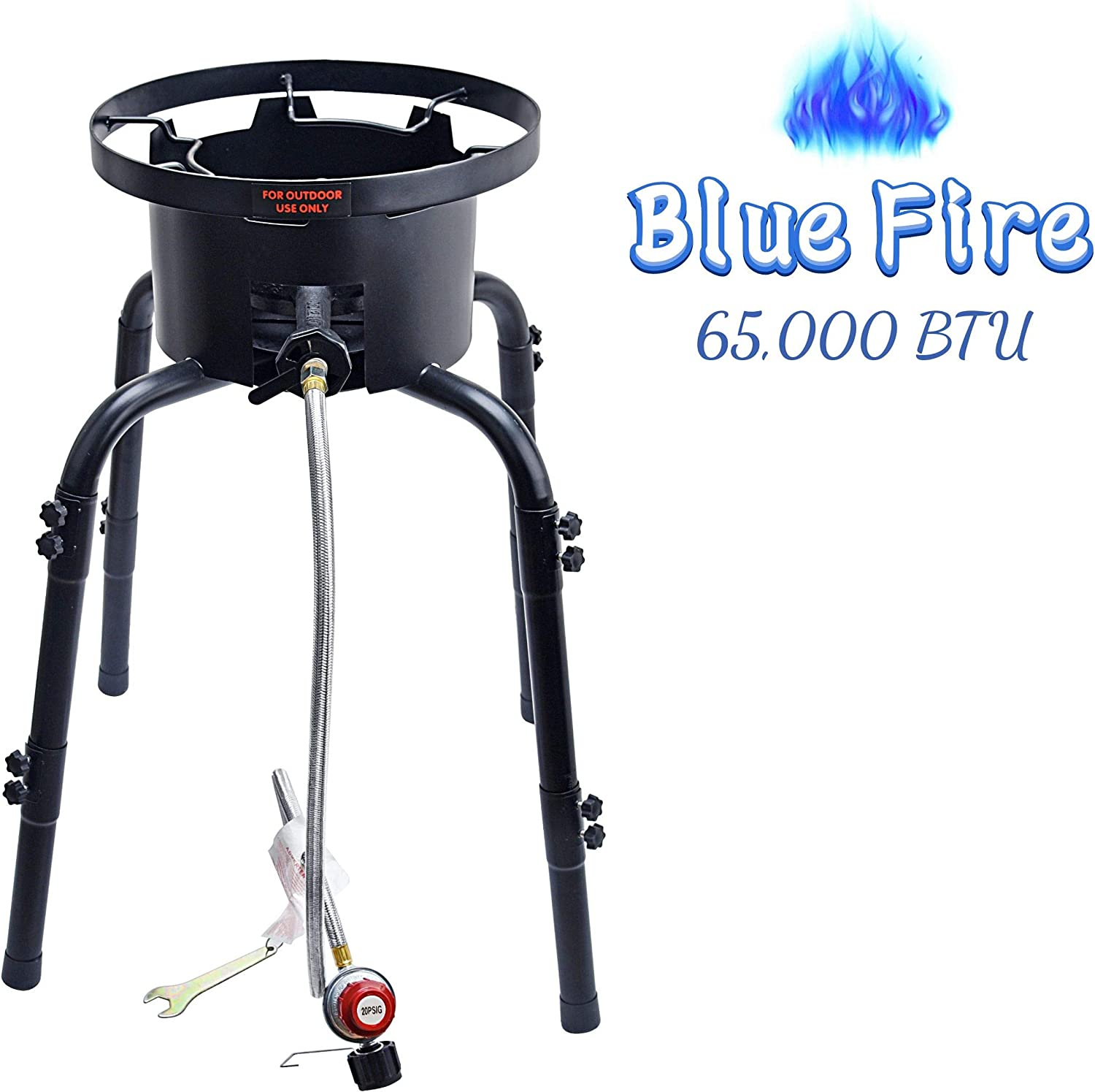 ARC USA,7382M Outdoor Single Burner Stove with Adjustable Legs,High Pressure Propane Burner,Portable Gas Cooker,Camping Burner Cooking Stove, 0-20PSI Adjustable Regulator and Hose,perfect for backyard