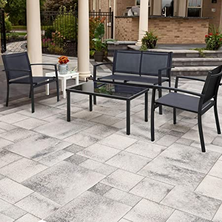 Flamaker 4 Pieces Patio Furniture Outdoor furniture Outdoor Patio Furniture Set Textilene Bistro Set Modern Conversation Set Black Bistro Set with Loveseat Tea Table for Home, Lawn and Balcony Black