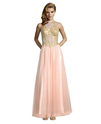 7a145706d9 Amazon.com  Blondie Nites Long High Neck Halter Ball Gown Applique Bodice  Blush Gold 13  Clothing