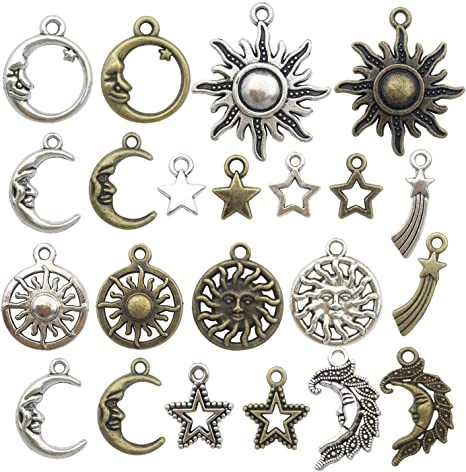 GraceAngie 40pcs//pack Mixed Vintage Color Alloy Charms Pendant for Handmade DIY Jewelry Accessories Necklace Bracelets Jewelry Makings