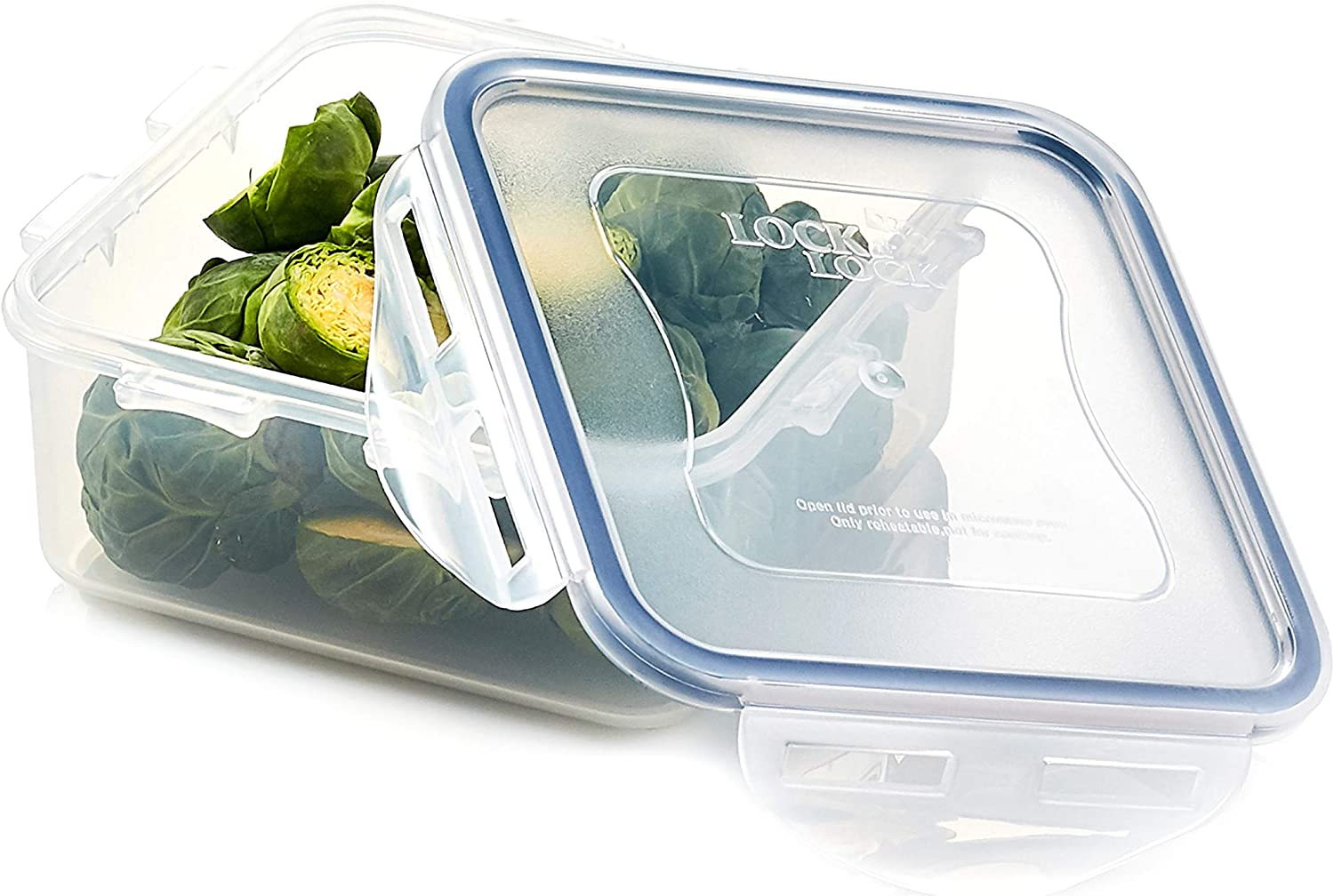 LOCK & LOCK Easy Essentials Food Storage lids/Airtight containers, BPA Free, Square-20 oz-for Coffee, Clear