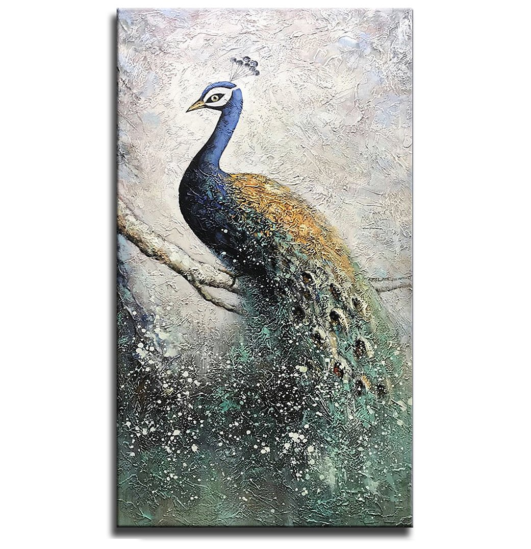 Asdam Art-100% Hand Painted Paintings On Canvas 3D Peacock Artwork Large Vertical Wall Art Animal Pictures Framed Acrylic Artwork For Living Room Bedroom Hallway Office Modern Home Decor(24x48in)