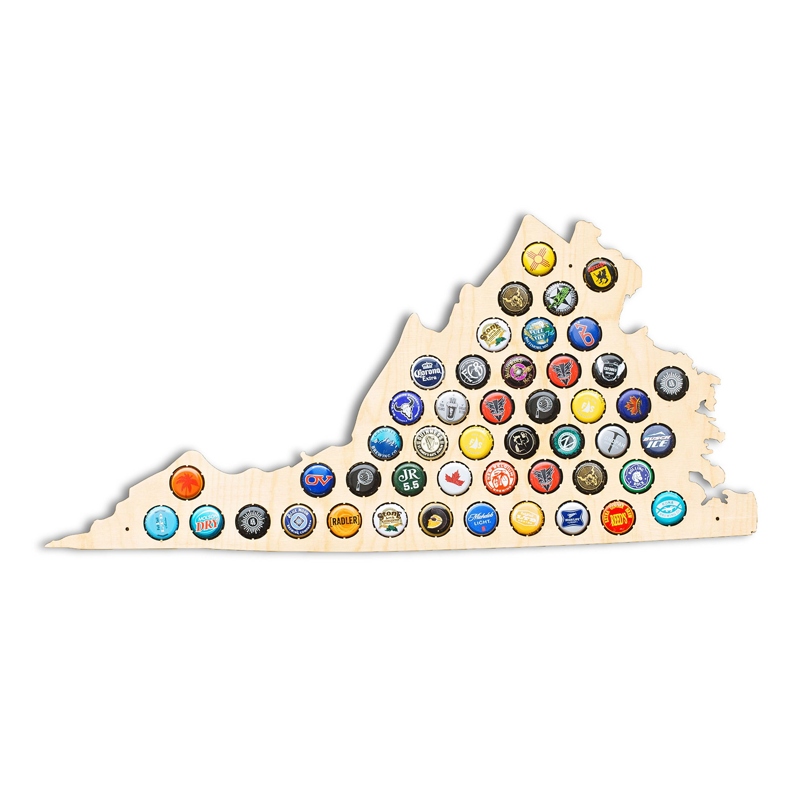 Virginia Beer Cap Map - NC Craft Beer Cap Holder, Gifts for Him (Natural)